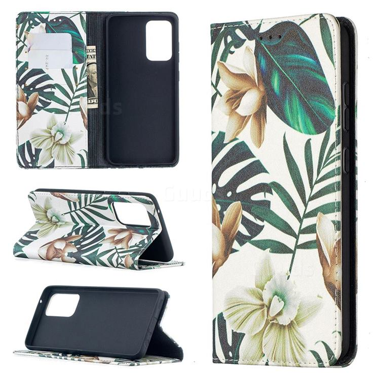 Flower Leaf Slim Magnetic Attraction Wallet Flip Cover for Samsung Galaxy A52 5G