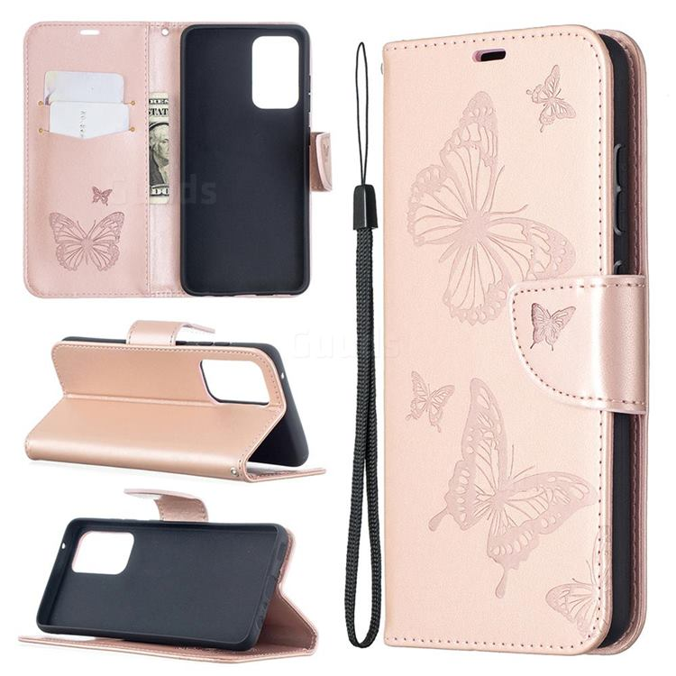 Embossing Double Butterfly Leather Wallet Case for Samsung Galaxy A52 5G - Rose Gold