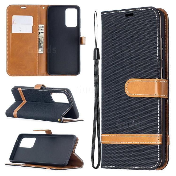 Jeans Cowboy Denim Leather Wallet Case for Samsung Galaxy A52 5G - Black