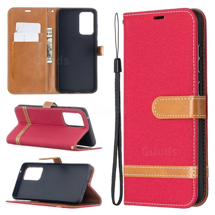 Jeans Cowboy Denim Leather Wallet Case for Samsung Galaxy A52 5G - Red