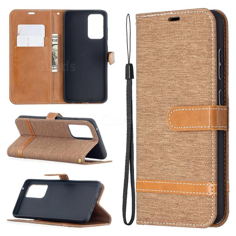 Jeans Cowboy Denim Leather Wallet Case for Samsung Galaxy A52 5G - Brown