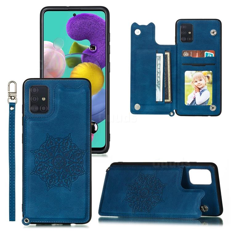 Luxury Mandala Multi-function Magnetic Card Slots Stand Leather Back Cover for Samsung Galaxy A52 5G - Blue