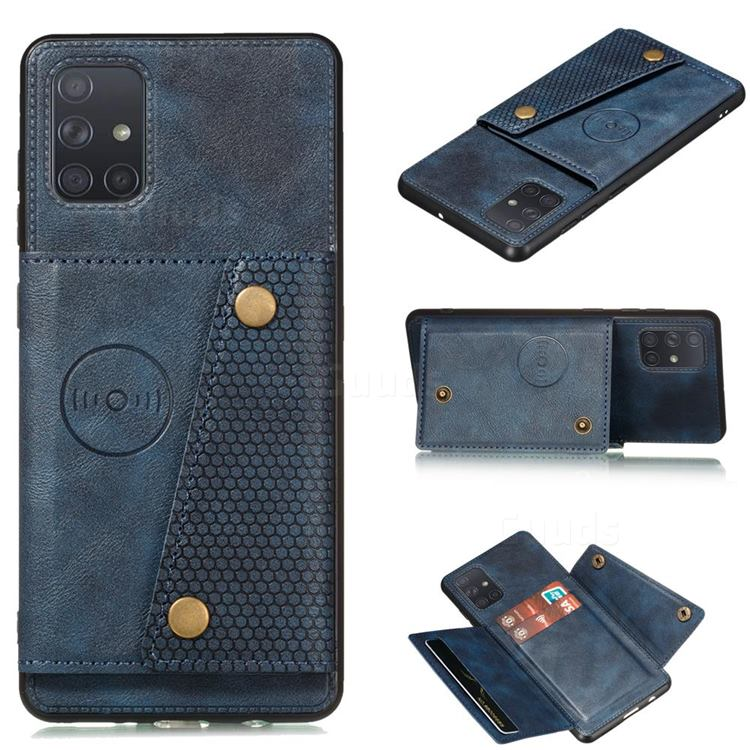 Retro Multifunction Card Slots Stand Leather Coated Phone Back Cover for Samsung Galaxy A52 5G - Blue
