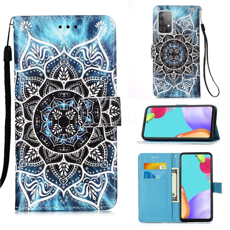 Underwater Mandala Matte Leather Wallet Phone Case for Samsung Galaxy A52 5G
