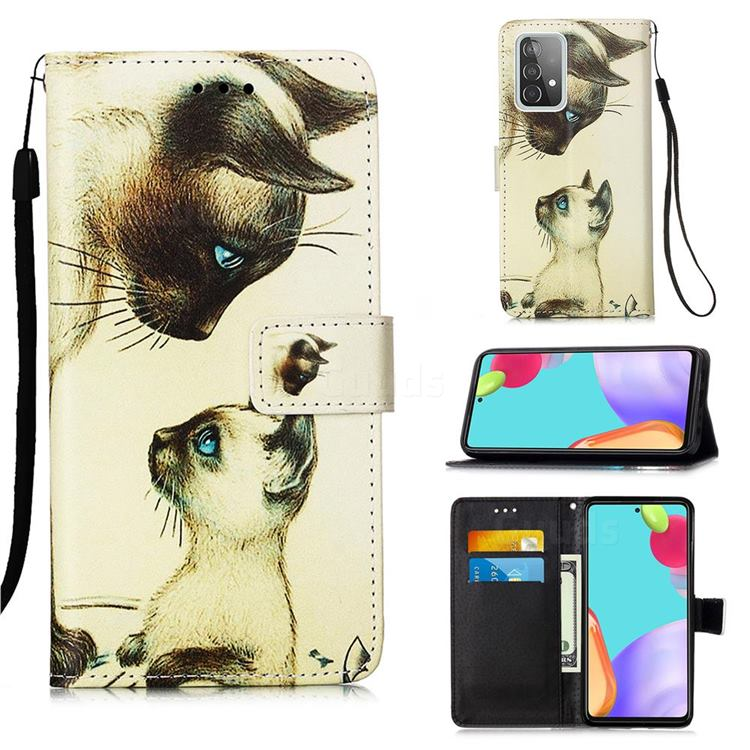 Cat Confrontation Matte Leather Wallet Phone Case for Samsung Galaxy A52 5G