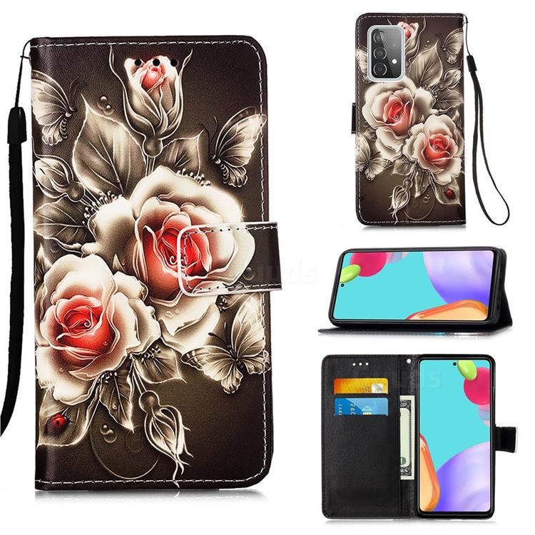 Black Rose Matte Leather Wallet Phone Case for Samsung Galaxy A52 5G