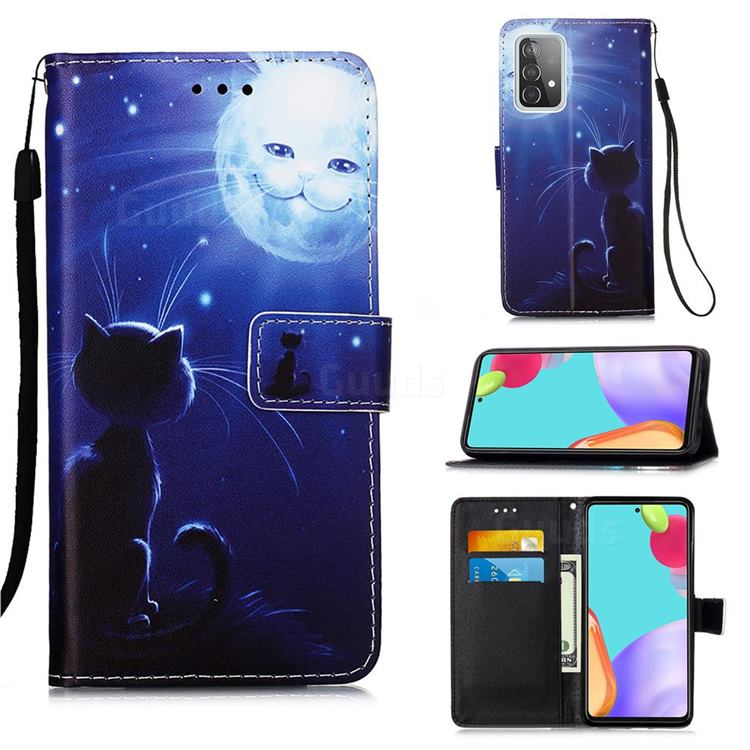 Cat and Moon Matte Leather Wallet Phone Case for Samsung Galaxy A52 5G