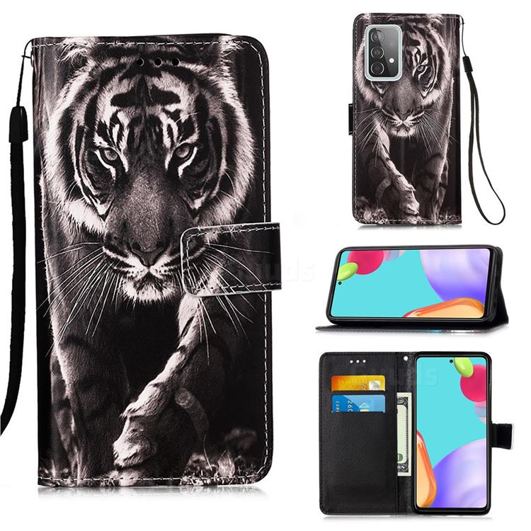 Black and White Tiger Matte Leather Wallet Phone Case for Samsung Galaxy A52 5G
