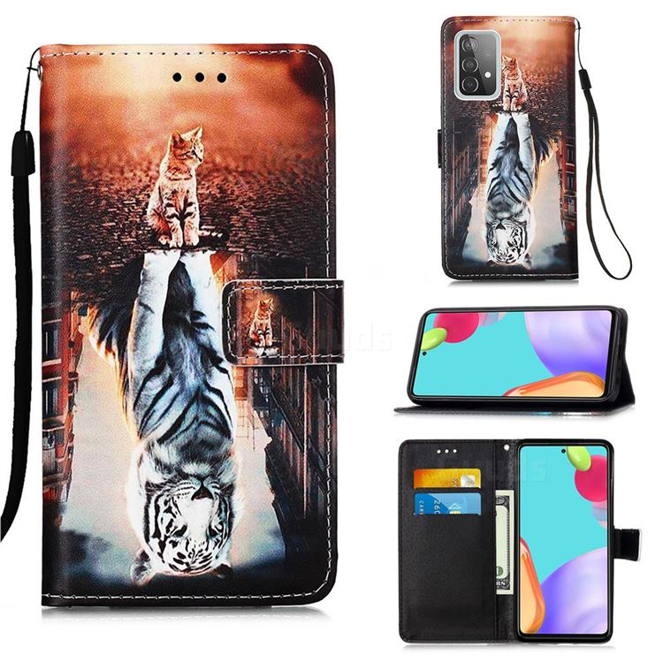 Cat and Tiger Matte Leather Wallet Phone Case for Samsung Galaxy A52 5G