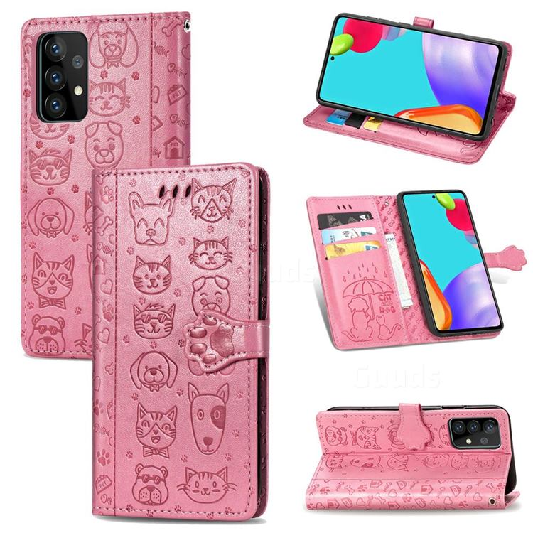 Embossing Dog Paw Kitten and Puppy Leather Wallet Case for Samsung Galaxy A52 5G - Pink