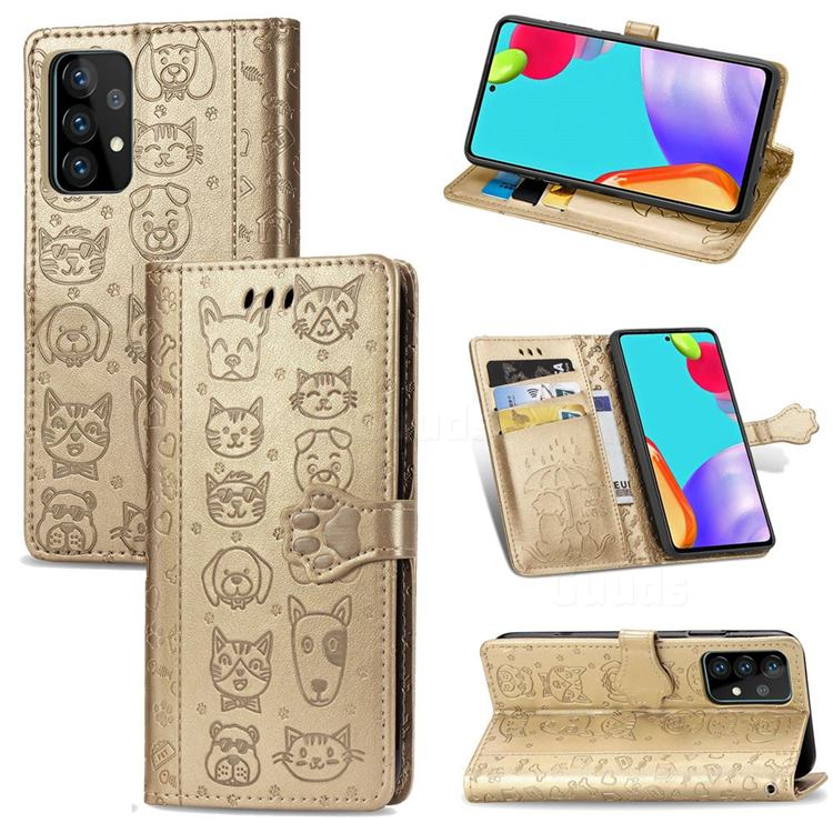 Embossing Dog Paw Kitten and Puppy Leather Wallet Case for Samsung Galaxy A52 5G - Champagne Gold