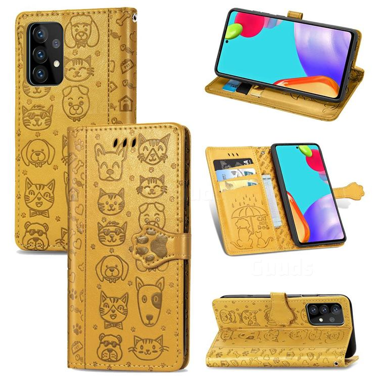 Embossing Dog Paw Kitten and Puppy Leather Wallet Case for Samsung Galaxy A52 5G - Yellow