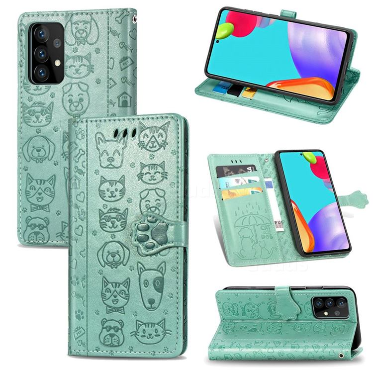 Embossing Dog Paw Kitten and Puppy Leather Wallet Case for Samsung Galaxy A52 5G - Green
