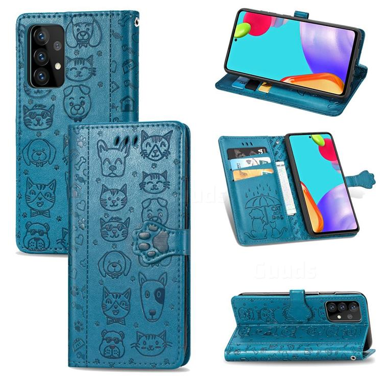 Embossing Dog Paw Kitten and Puppy Leather Wallet Case for Samsung Galaxy A52 5G - Blue