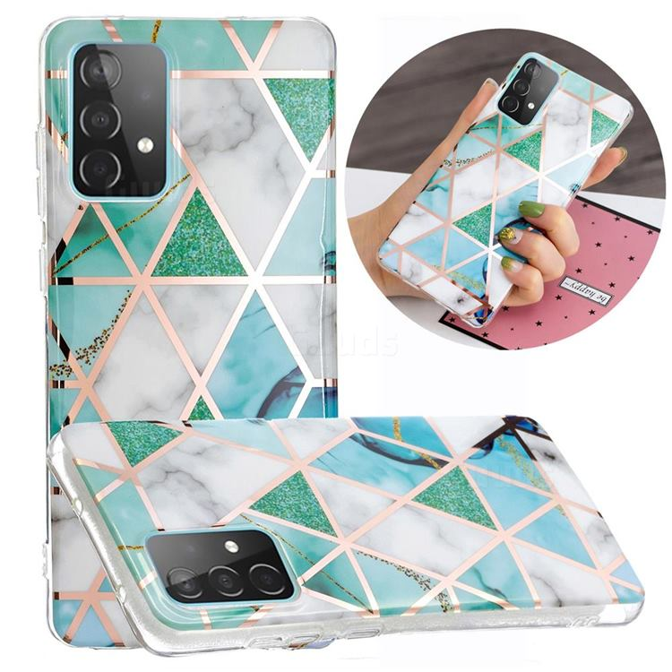 Green White Galvanized Rose Gold Marble Phone Back Cover for Samsung Galaxy A52 5G
