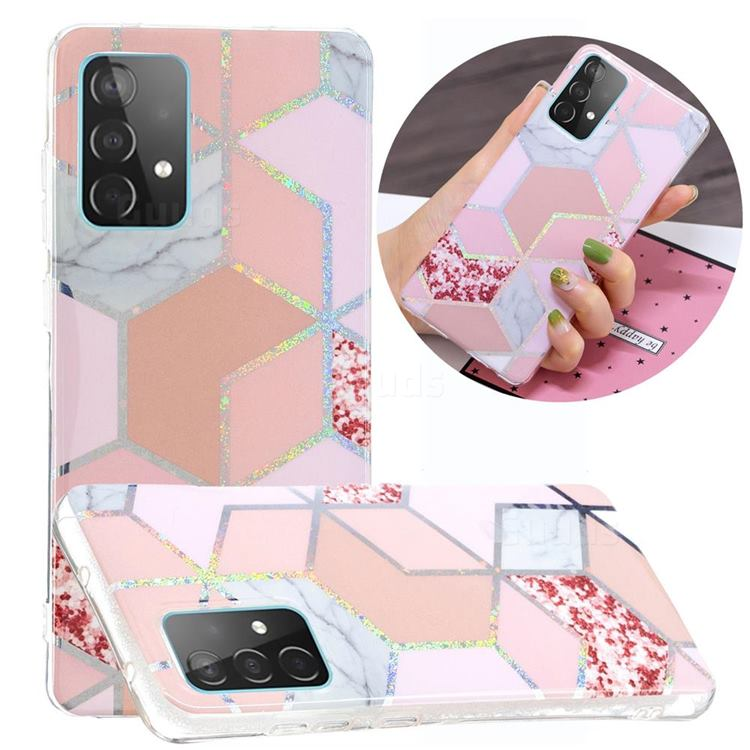 Pink Marble Painted Galvanized Electroplating Soft Phone Case Cover for Samsung Galaxy A52 5G