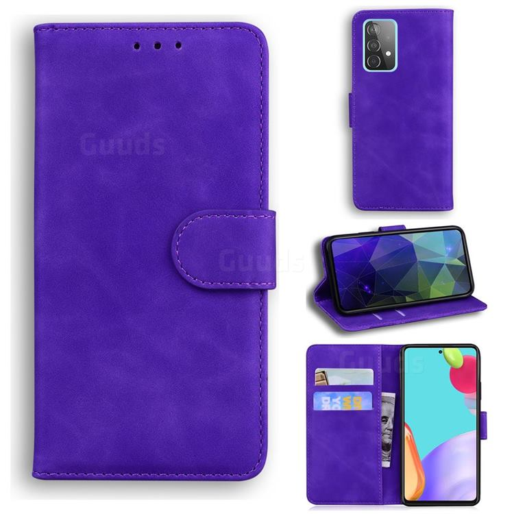 Retro Classic Skin Feel Leather Wallet Phone Case for Samsung Galaxy A52 5G - Purple