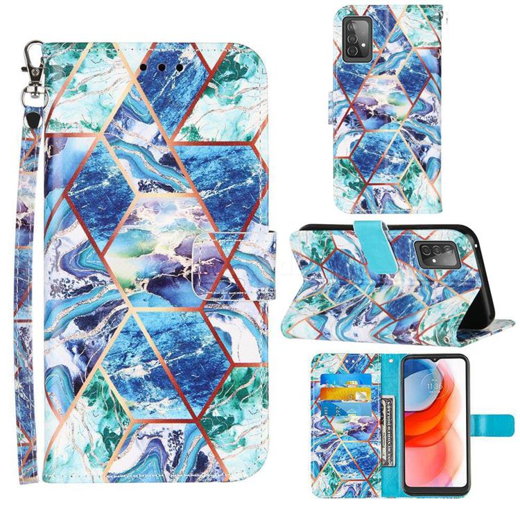 Green and Blue Stitching Color Marble Leather Wallet Case for Samsung Galaxy A52 5G