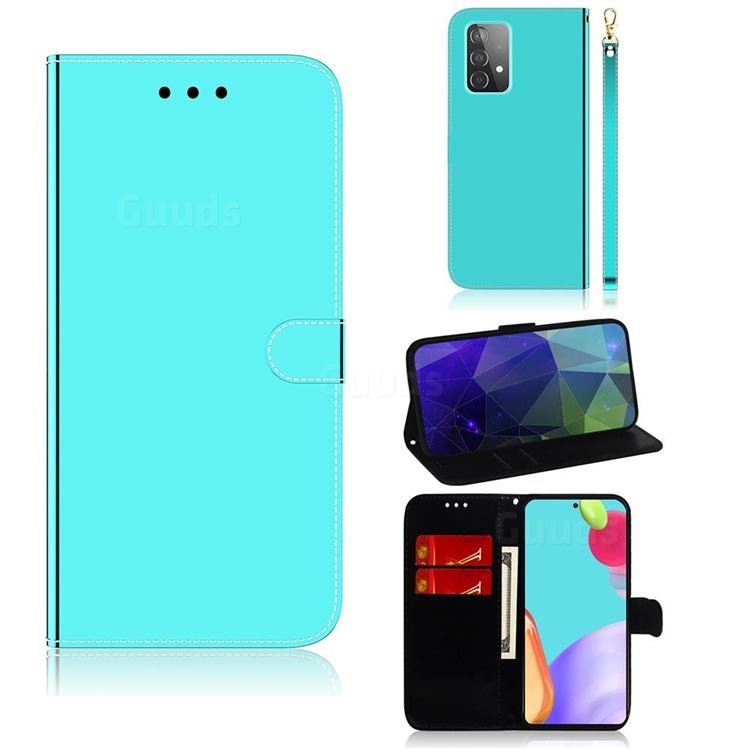 Shining Mirror Like Surface Leather Wallet Case for Samsung Galaxy A52 (4G, 5G) - Mint Green