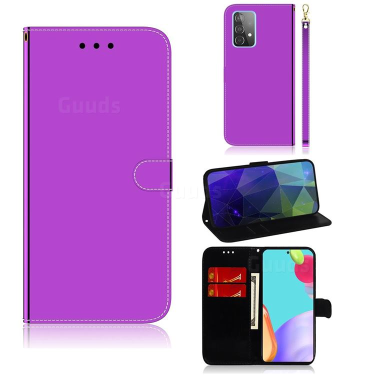 Shining Mirror Like Surface Leather Wallet Case for Samsung Galaxy A52 (4G, 5G) - Purple