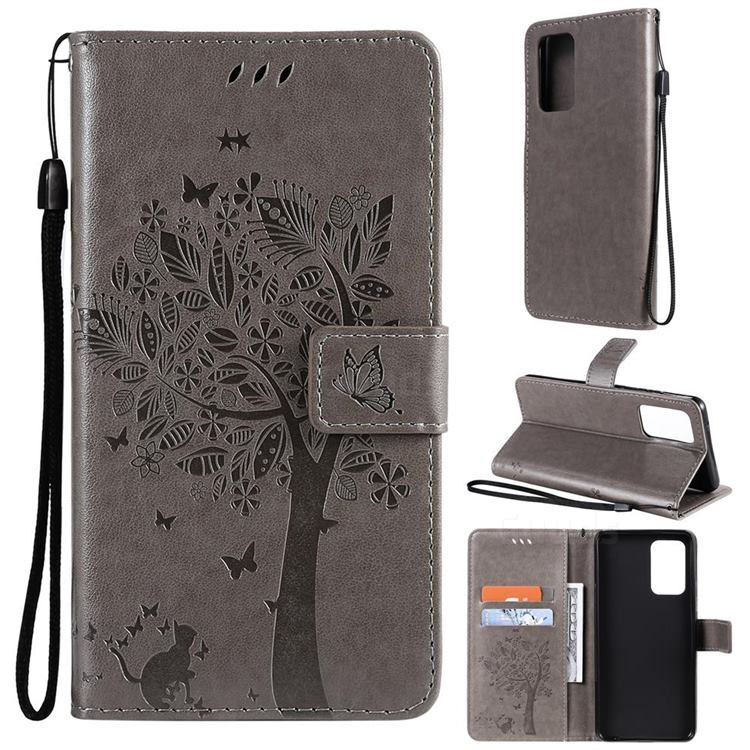 Embossing Butterfly Tree Leather Wallet Case for Samsung Galaxy A52 (4G, 5G) - Grey
