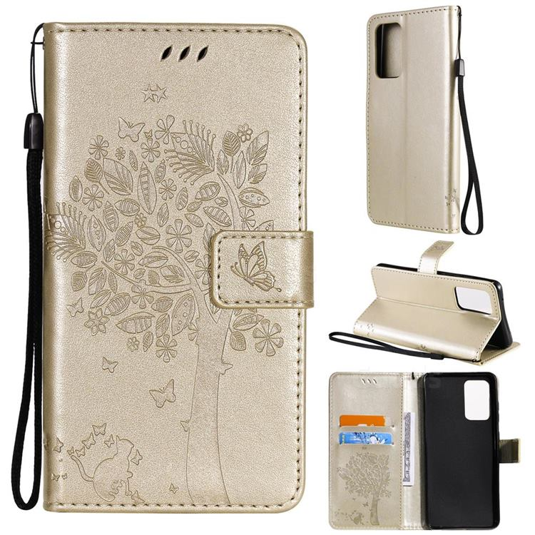 Embossing Butterfly Tree Leather Wallet Case for Samsung Galaxy A52 (4G, 5G) - Champagne