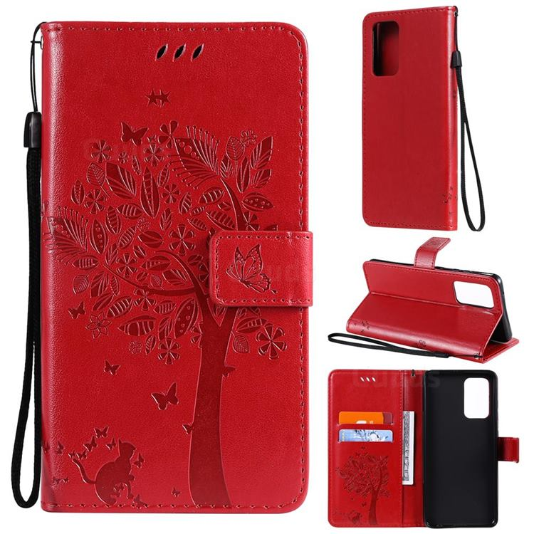 Embossing Butterfly Tree Leather Wallet Case for Samsung Galaxy A52 (4G, 5G) - Red