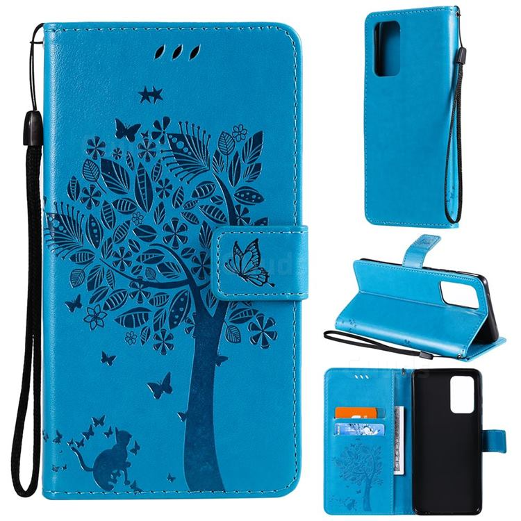 Embossing Butterfly Tree Leather Wallet Case for Samsung Galaxy A52 (4G, 5G) - Blue