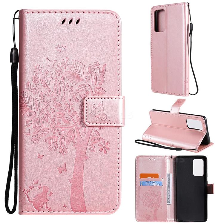 Embossing Butterfly Tree Leather Wallet Case for Samsung Galaxy A52 (4G, 5G) - Rose Pink