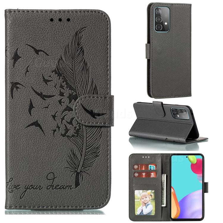 Intricate Embossing Lychee Feather Bird Leather Wallet Case for Samsung Galaxy A52 (4G, 5G) - Gray