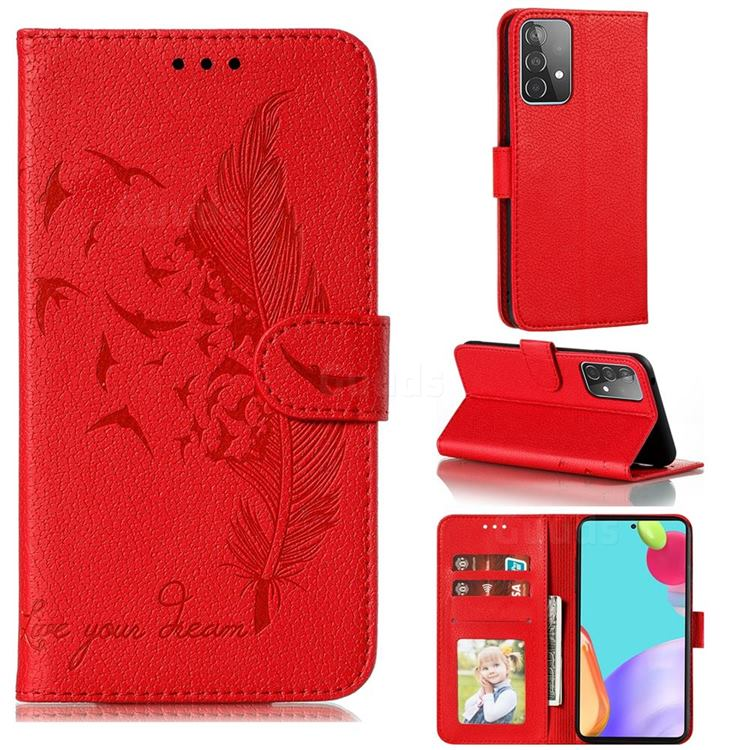 Intricate Embossing Lychee Feather Bird Leather Wallet Case for Samsung Galaxy A52 (4G, 5G) - Red