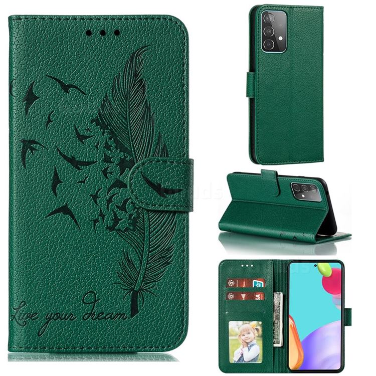 Intricate Embossing Lychee Feather Bird Leather Wallet Case for Samsung Galaxy A52 (4G, 5G) - Green