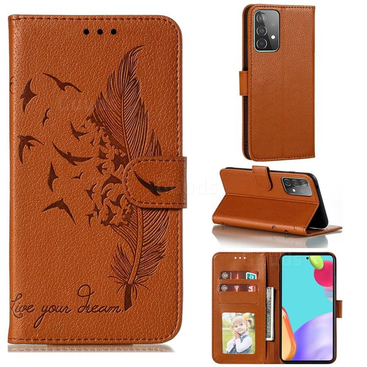 Intricate Embossing Lychee Feather Bird Leather Wallet Case for Samsung Galaxy A52 (4G, 5G) - Brown