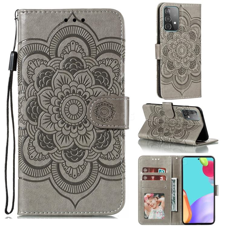 Intricate Embossing Datura Solar Leather Wallet Case for Samsung Galaxy A52 (4G, 5G) - Gray