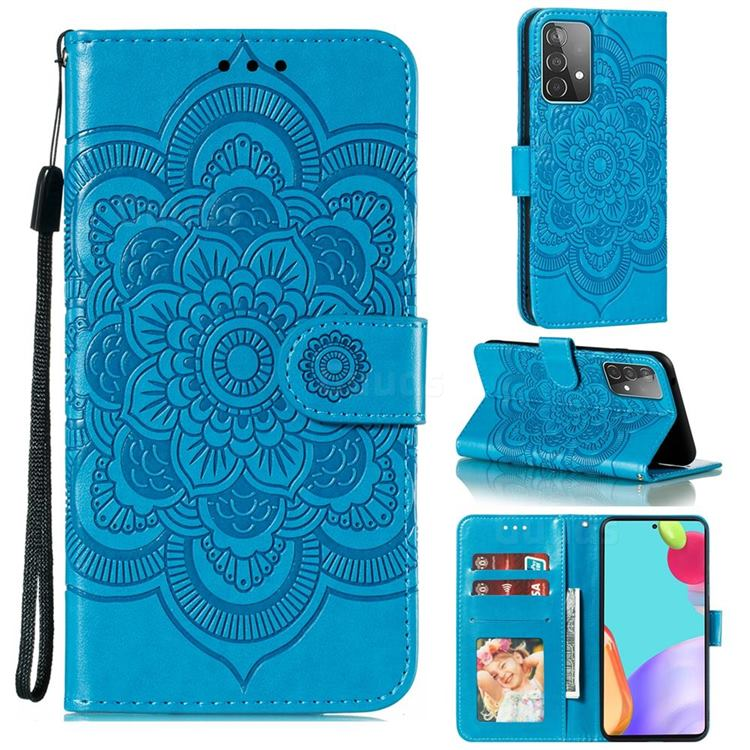 Intricate Embossing Datura Solar Leather Wallet Case for Samsung Galaxy A52 (4G, 5G) - Blue
