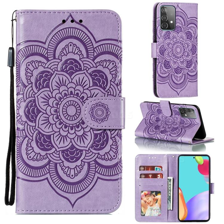 Intricate Embossing Datura Solar Leather Wallet Case for Samsung Galaxy A52 (4G, 5G) - Purple