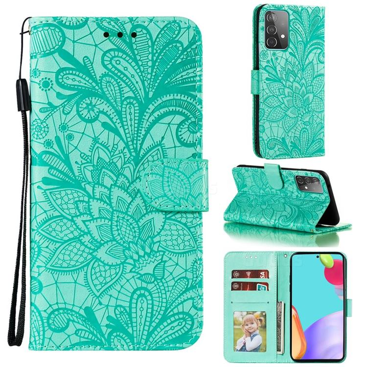 Intricate Embossing Lace Jasmine Flower Leather Wallet Case for Samsung Galaxy A52 (4G, 5G) - Green