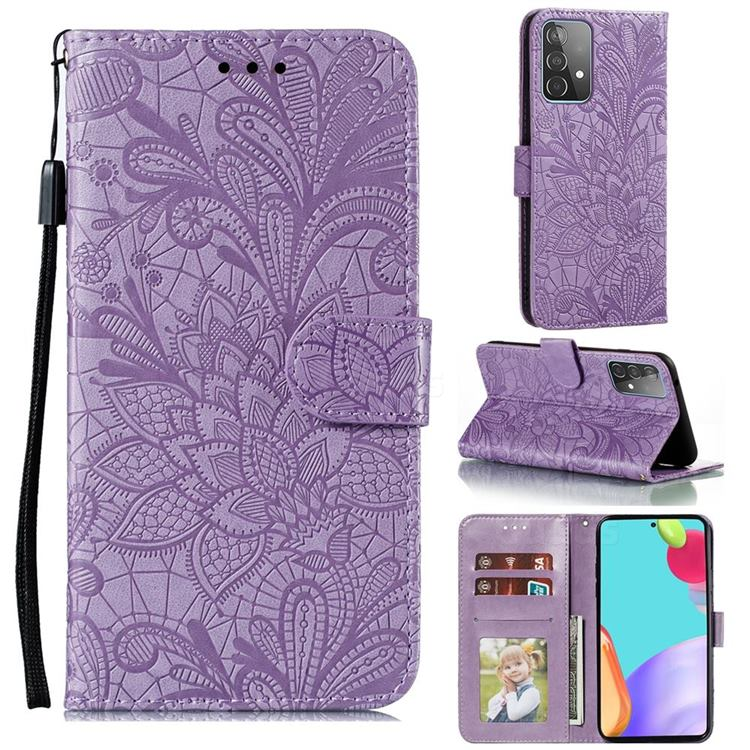 Intricate Embossing Lace Jasmine Flower Leather Wallet Case for Samsung Galaxy A52 (4G, 5G) - Purple