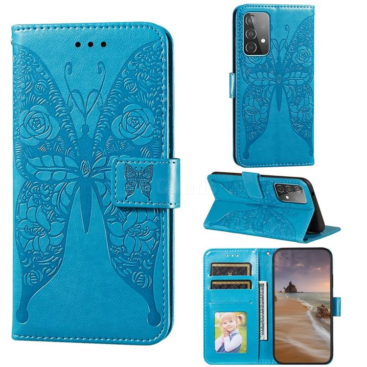 Intricate Embossing Rose Flower Butterfly Leather Wallet Case for Samsung Galaxy A52 (4G, 5G) - Blue