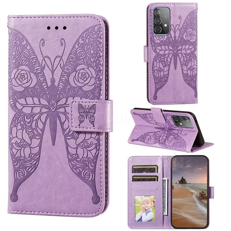 Intricate Embossing Rose Flower Butterfly Leather Wallet Case for Samsung Galaxy A52 (4G, 5G) - Purple