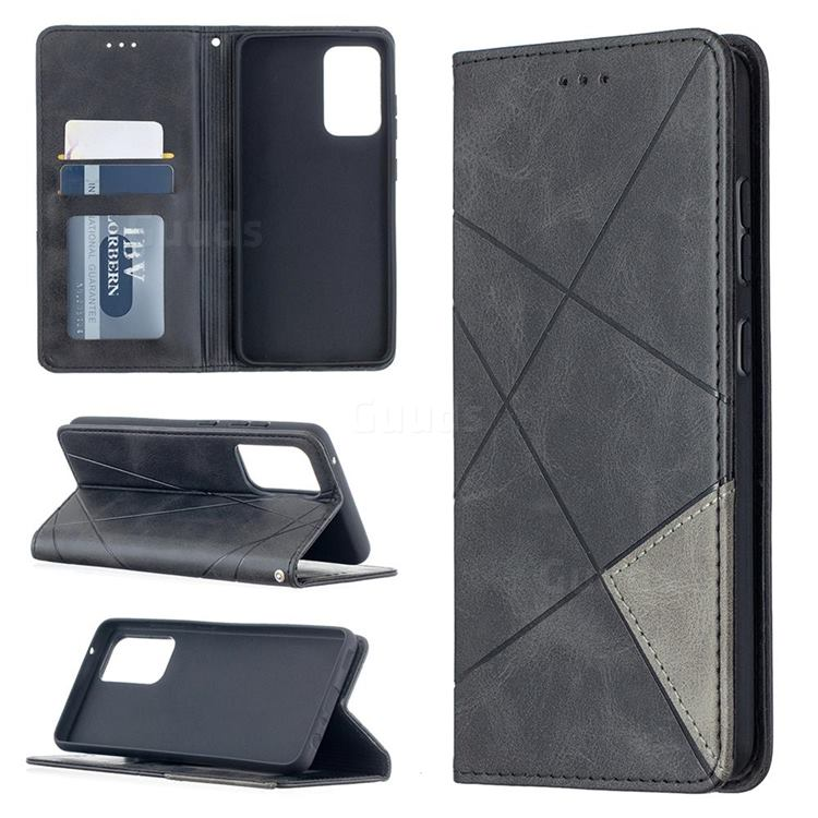 Prismatic Slim Magnetic Sucking Stitching Wallet Flip Cover for Samsung Galaxy A52 (4G, 5G) - Black