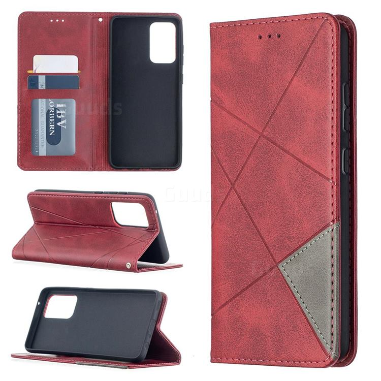 Prismatic Slim Magnetic Sucking Stitching Wallet Flip Cover for Samsung Galaxy A52 (4G, 5G) - Red