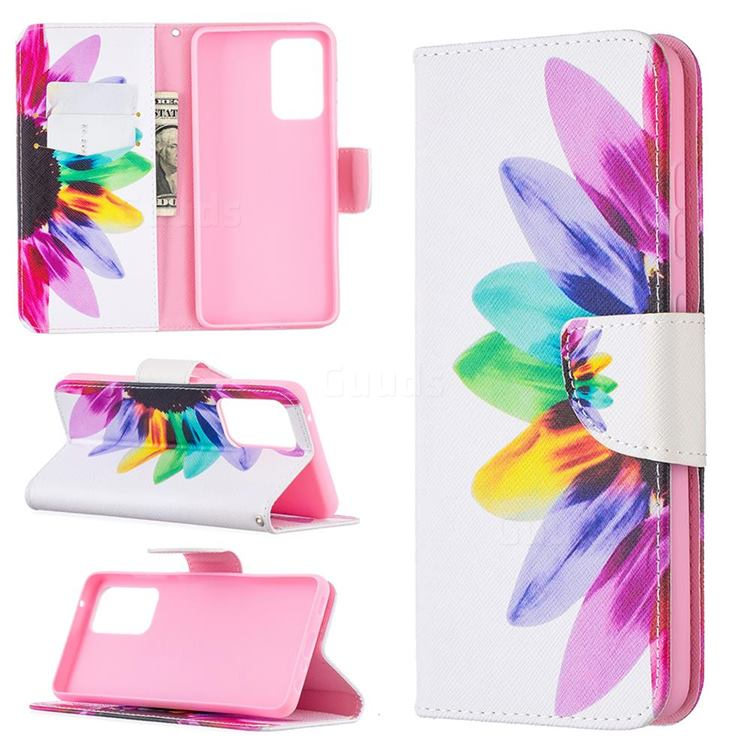 Seven-color Flowers Leather Wallet Case for Samsung Galaxy A52 (4G, 5G)