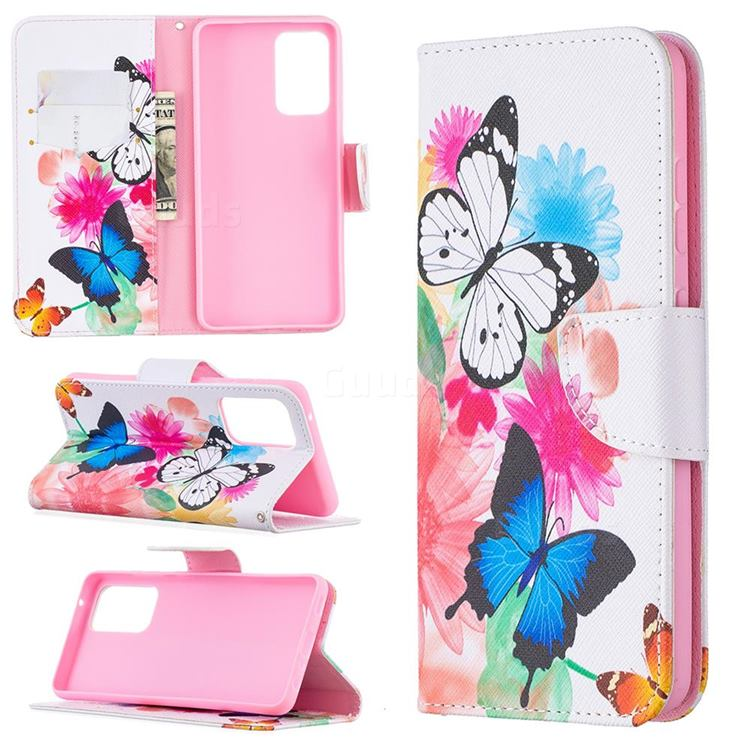 Vivid Flying Butterflies Leather Wallet Case for Samsung Galaxy A52 (4G, 5G)