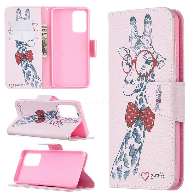 Glasses Giraffe Leather Wallet Case for Samsung Galaxy A52 (4G, 5G)