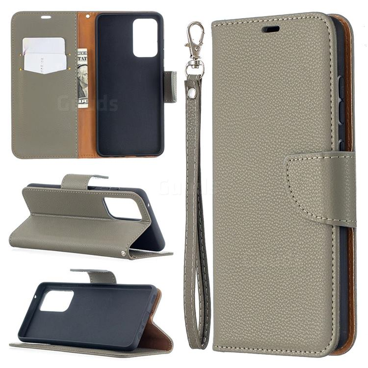 Classic Luxury Litchi Leather Phone Wallet Case for Samsung Galaxy A52 (4G, 5G) - Gray