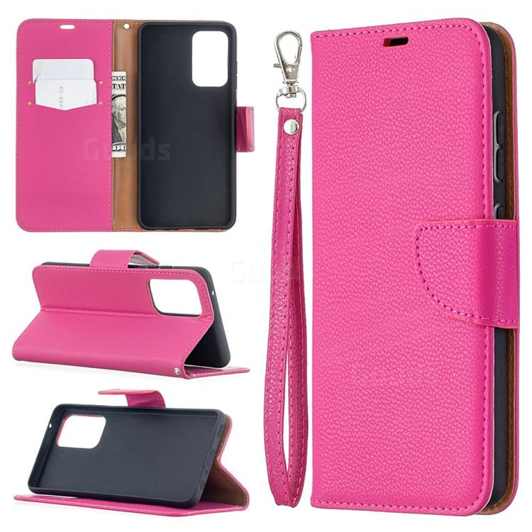 Classic Luxury Litchi Leather Phone Wallet Case for Samsung Galaxy A52 (4G, 5G) - Rose