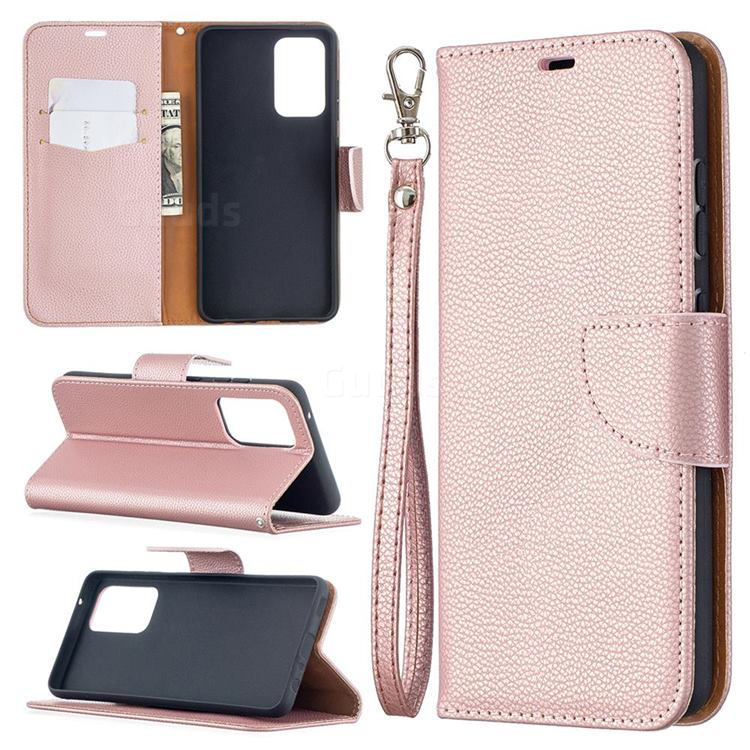 Classic Luxury Litchi Leather Phone Wallet Case for Samsung Galaxy A52 (4G, 5G) - Golden
