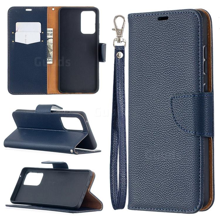 Classic Luxury Litchi Leather Phone Wallet Case for Samsung Galaxy A52 (4G, 5G) - Blue