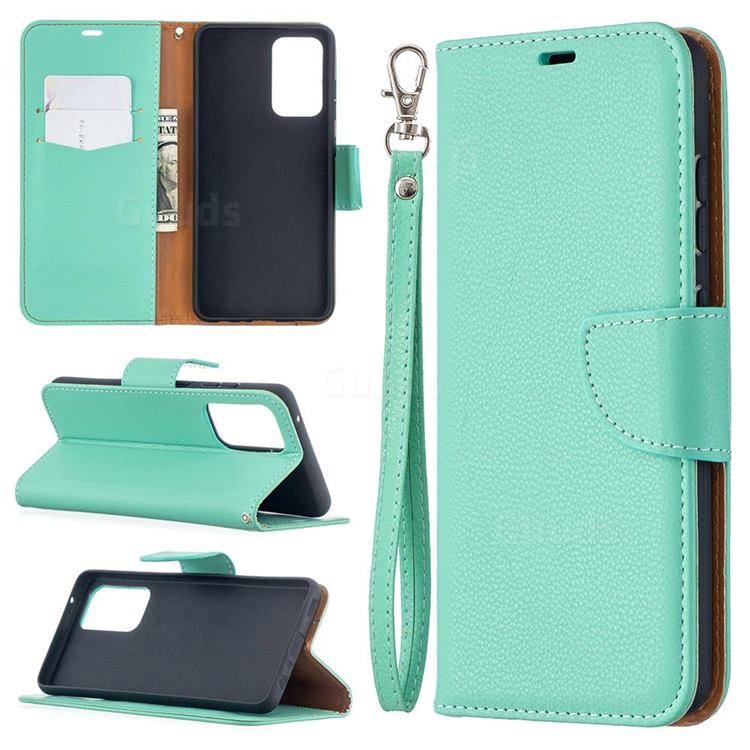 Classic Luxury Litchi Leather Phone Wallet Case for Samsung Galaxy A52 (4G, 5G) - Green